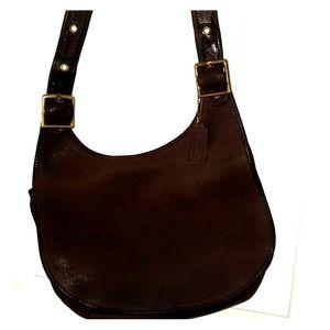 Authentic vintage coach  brown leather saddle bag
